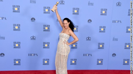 Actress Tracee Ellis Ross, winner of the Best Performance by an Actress in a Television Series (Musical or Comedy) award for 'Blacklish.'