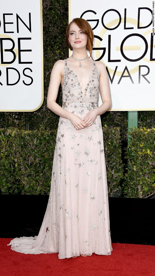 Emma Stone arrives at the Golden Globe Awards on Sunday, January 8.