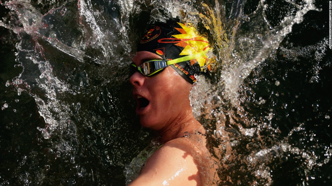 Ice swimming world champion Julia Wittig races in a lake in Burghausen, Germany, on Friday, January 6.