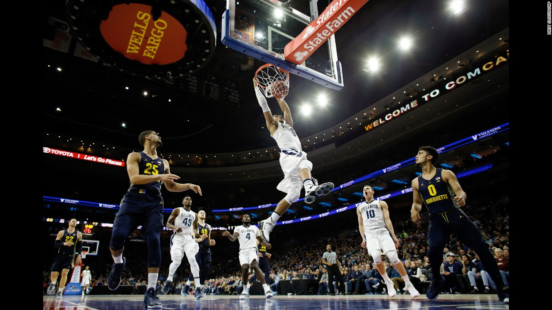 Villanova's Josh Hart dunks the ball during a college basketball game against Marquette on Saturday, January 7. Hart scored 19 points as the top-ranked Wildcats won 93-81.