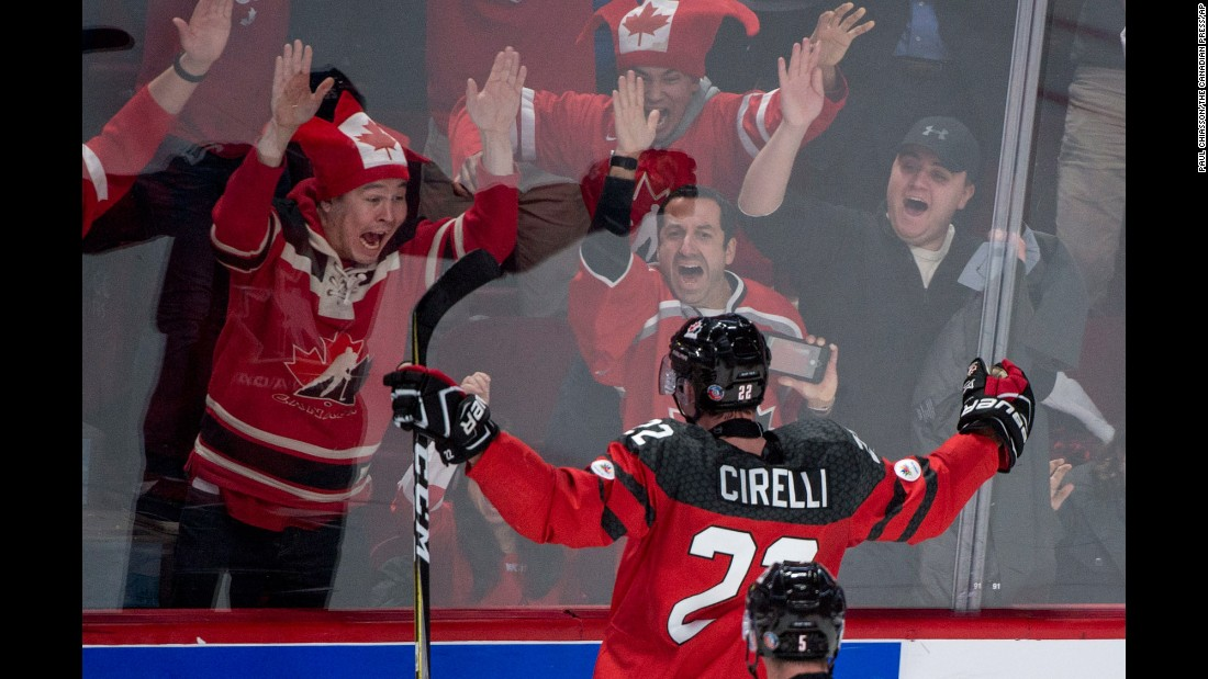 Canada's Anthony Cirelli celebrates a goal during the semifinals of the World Junior Championship on Wednesday, January 4. The Canadians defeated Sweden 5-2.