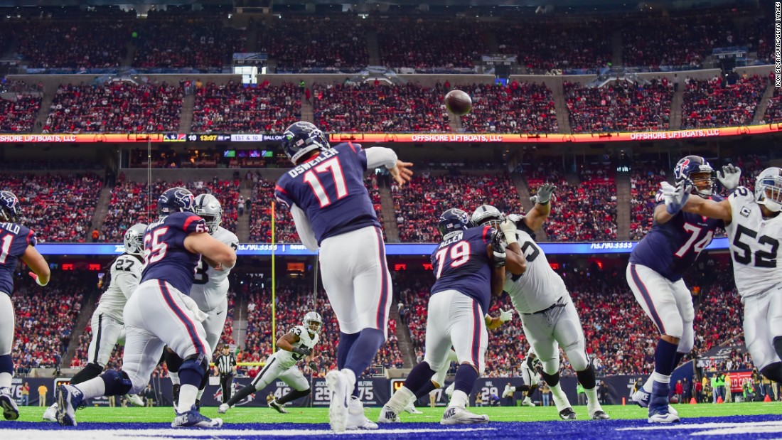 Houston quarterback Brock Osweiler throws from his own end zone during an NFL playoff game against Oakland on Saturday, January 7. The Texans won 27-14. It was their first playoff win since 2012.