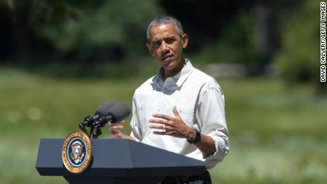 President Barack Obama speaks in front of Cook's Meadow on June 18, 2016 in Yosemite National Park, California.