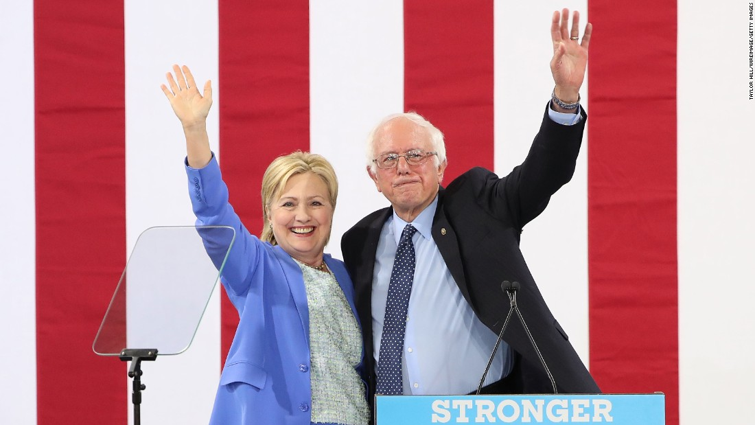 "Sanders <a href=""http://www.cnn.com/2016/07/11/politics/hillary-clinton-bernie-sanders/"" target=""_blank"">endorses</a> Democratic presidential nominee Hillary Clinton at a rally in Portsmouth, New Hampshire, on July 12."