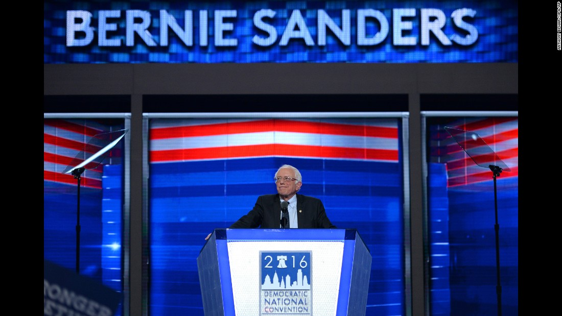 "Sanders <a href=""http://www.cnn.com/2016/07/25/politics/bernie-sanders-democratic-national-convention-speech/"" target=""_blank"">addresses delegates</a> on the first day of the Democratic National Convention in Philadelphia, Pennsylvania, on July 25."