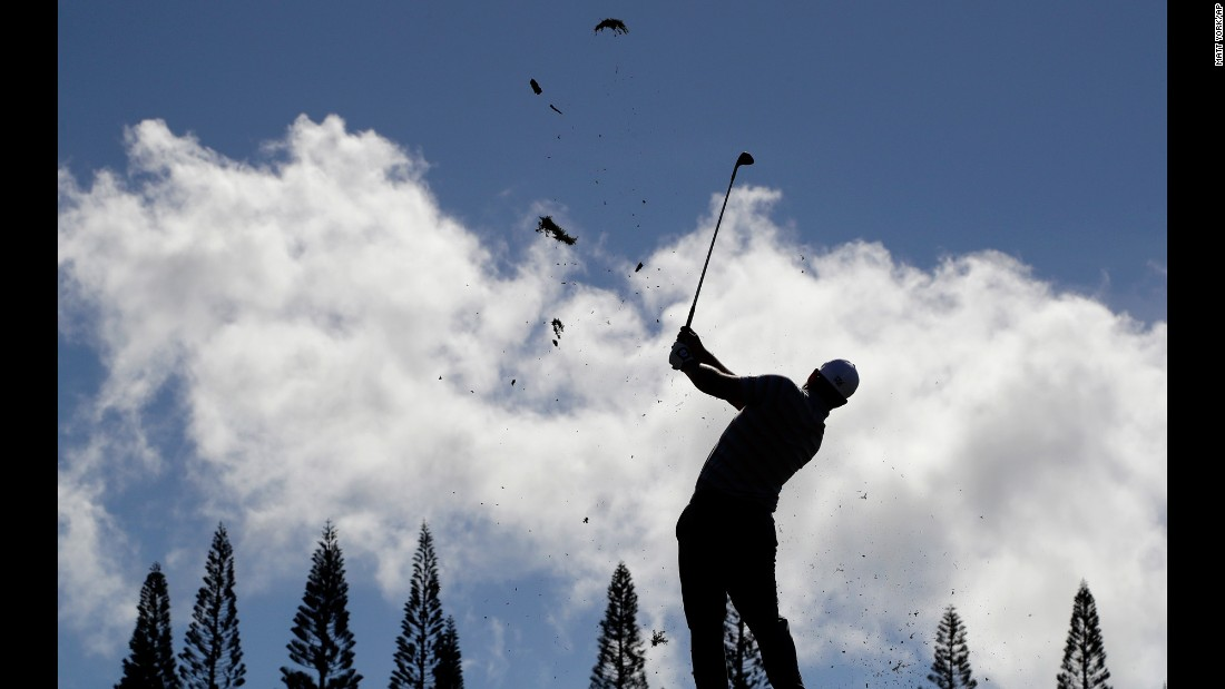 Ryan Moore hits a shot during the third round of the Tournament of Champions on Saturday, January 7. The tournament in Kapalua, Hawaii, is only open to those who won a PGA Tour event last year.
