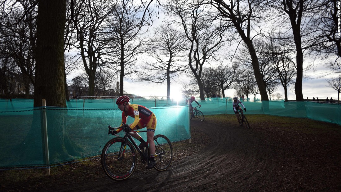 Ruby Miller, left, competes in the British Cyclo-Cross Championships on Sunday, January 8.