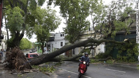 TOPSHOT - A severe thunderstorm with winds of more than 100 km an hour wreaked havoc in Montevideo on January 3, 2017, knocking down trees and damaging homes.  / AFP / MIGUEL ROJO        (Photo credit should read MIGUEL ROJO/AFP/Getty Images)