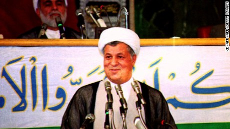 President Ali Akbar Hashemi Rafsanjani addresses the Parliament after being sworn in for a second term in office 04 August 1993.