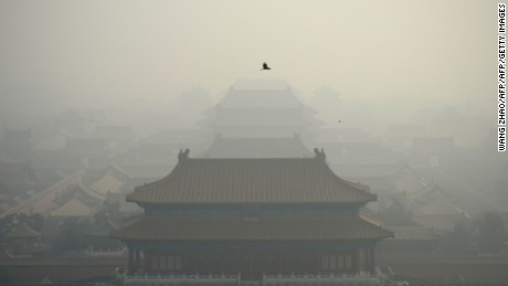 A bird flies in heavy smog over the Forbidden City in Beijing on November 4, 2016. / AFP / WANG ZHAO        (Photo credit should read WANG ZHAO/AFP/Getty Images)