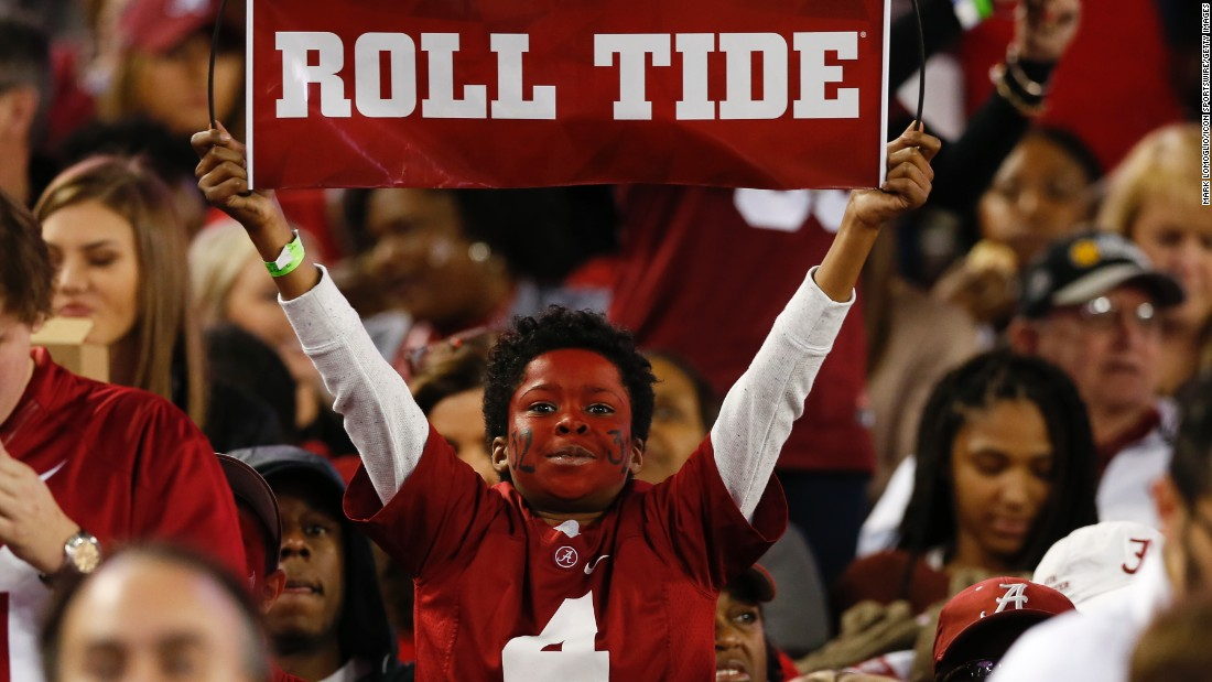 A young Alabama fan shows his support for the Crimson Tide.