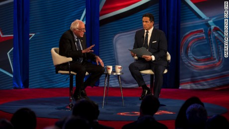 Sen. Bernie Sanders (D-Vt.) speaks with Chris Cuomo during a CNN Townhall event at the George Washington University in Washington, D.C. on January 9, 2017.