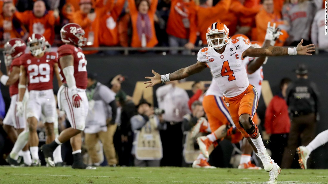 "Clemson quarterback Deshaun Watson celebrates after throwing a touchdown pass to win <a href=""http://www.cnn.com/2017/01/09/sport/clemson-alabama-college-football-playoff-national-championship/index.html"" target=""_blank"">the championship game of the College Football Playoff</a> on Tuesday, January 10. Clemson defeated Alabama 35-31 for its first national title since 1981. The Tigers also avenged their loss to Alabama in last year's title game."