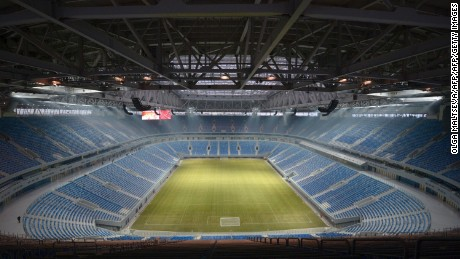 A picture taken on December 29, 2016 shows a view of the inside of Krestovsky football stadium, also known as Zenit Arena and currently under construction for the 2018 FIFA World Cup, in Saint Petersburg.  The 21st FIFA World Cup is scheduled to take place from June 14 to July 15, 2018 in Russia. For the World Cup, the stadium's name will be changed to Saint Petersburg Stadium. / AFP / OLGA MALTSEVA        (Photo credit should read OLGA MALTSEVA/AFP/Getty Images)