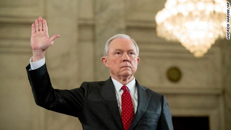Attorney General-designate Sen. Jeff Sessions is sworn in on Capitol Hill on January 10, 2017, prior to testifying at his confirmation hearing before the Senate Judiciary Committee.
