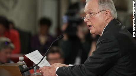 WASHINGTON, DC - JANUARY 10:  Sen. Jeff Sessions (R-AL) testifies before the Senate Judiciary Committee during his confirmation hearing to be the U.S. Attorney General January 10, 2017 in Washington, DC. Sessions was one of the first members of Congress to endorse and support President-elect Donald Trump, who nominated him for Attorney General.  (Photo by Chip Somodevilla/Getty Images)