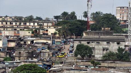 The urban sprawl of Abidjan, the economic capital of the Ivory Coast, where many residences lack formal addresses.