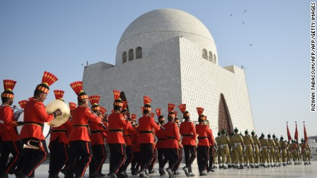 TOPSHOT - Pakistani military cadets march on the birth anniversary of the country's founder Mohammad Ali Jinnah at his mausoleum in Karachi on December 25, 2016.  The government has announced week-long celebrations of Quaid-e-Azam Muhammad Ali Jinnah's birth anniversary. / AFP / RIZWAN TABASSUM        (Photo credit should read RIZWAN TABASSUM/AFP/Getty Images)