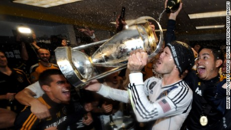 Beckham celebrates winning the MLS Cup with the Galaxy in 2012.