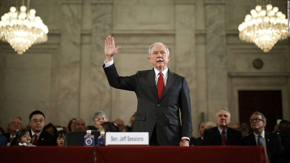 "US Sen. Jeff Sessions, who Trump has nominated for attorney general, is sworn in during <a href=""http://www.cnn.com/2017/01/10/politics/trump-cabinet-confirmation-hearings-live/index.html"" target=""_blank"">his confirmation hearing in Washington </a>on Tuesday, January 10. Trump and his transition team are in the process of filling high-level positions for the new administration."