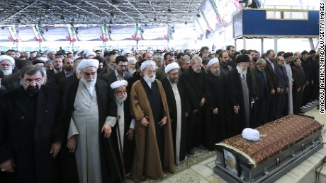 Supreme Leader of Iran Ali Khamenei leads funeral prayers  for former President  Rafsanjani on Tuesday, January 10, 2017.