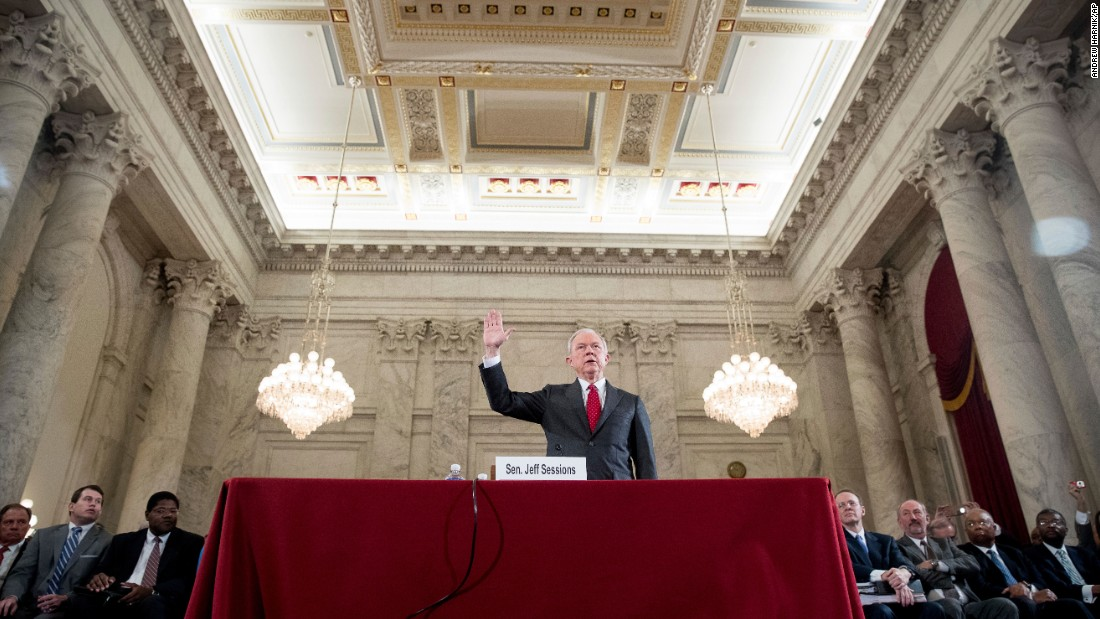 US Sen. Jeff Sessions, a Republican from Alabama, is sworn in on Capitol Hill prior to his confirmation hearing on Tuesday, January 10. Sessions is Trump's pick for attorney general.
