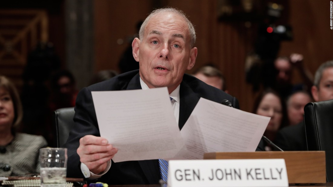 "Kelly testifies <a href=""http://www.cnn.com/2017/01/10/politics/john-kelly-homeland-security-senate-confirmation-hearing/"" target=""_blank"">at his hearing.</a> He was previously the head of US Southern Command, which is responsible for all military activities in South America and Central America."