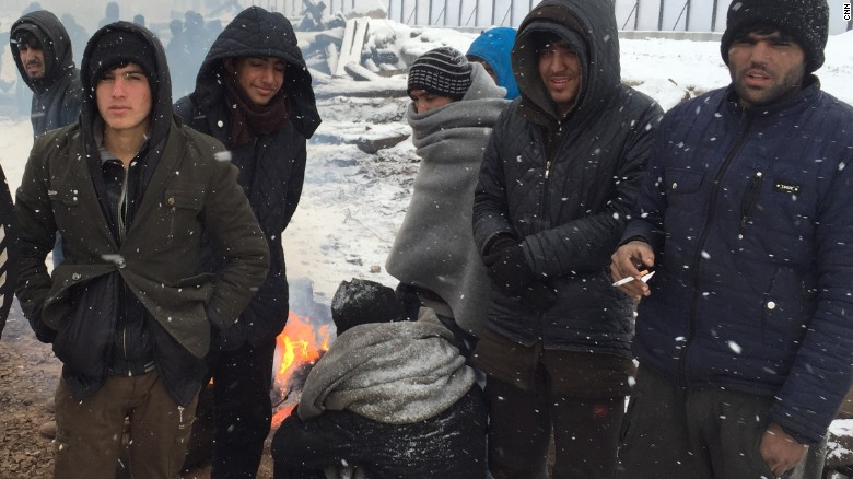 Refugees struggle in European cold snap
