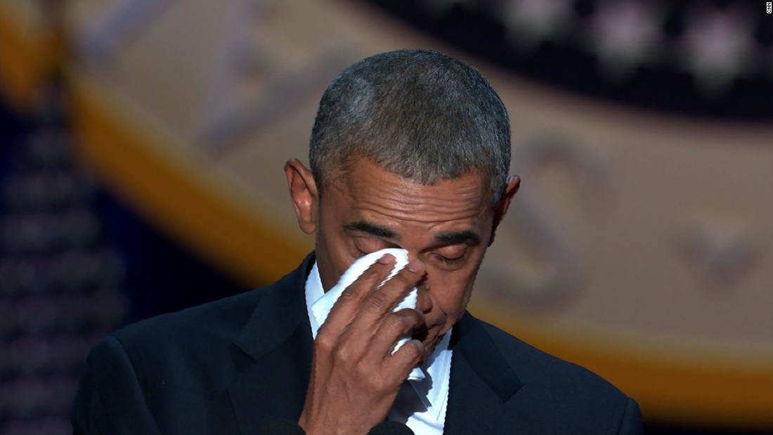 Obama tears up about Michelle during farewell address ...