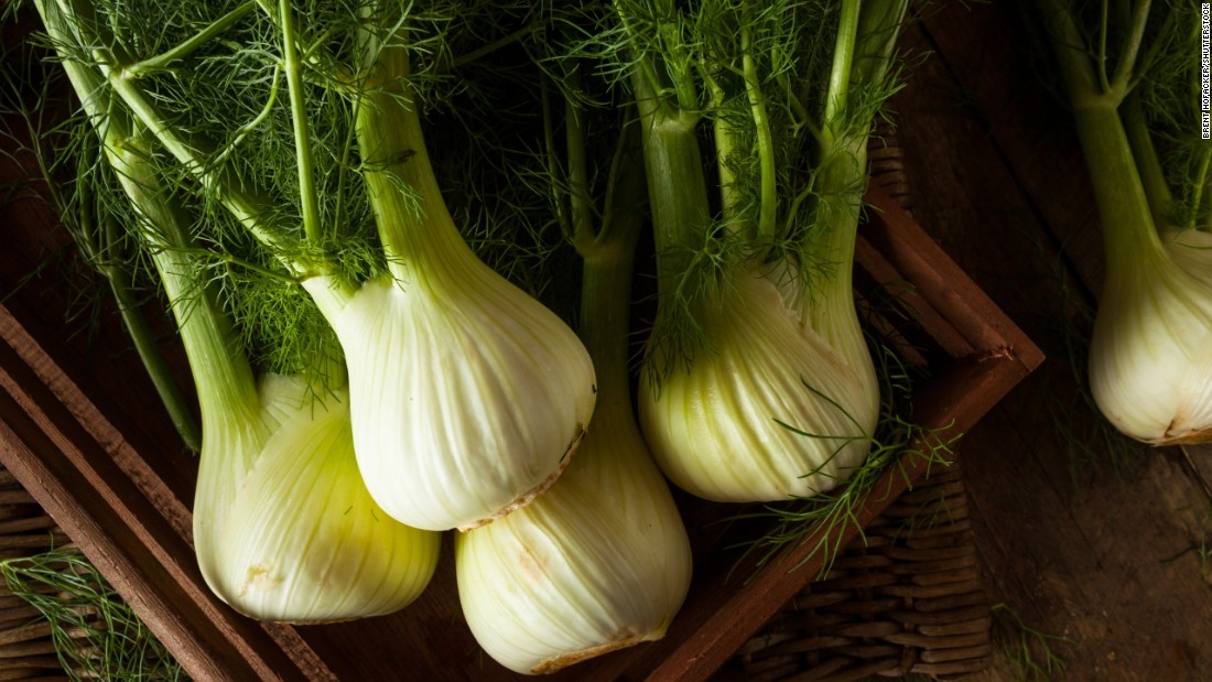 Fennel, which resembles a cross between a white onion and celery, is a good source of vitamin C, potassium, fiber and folate.