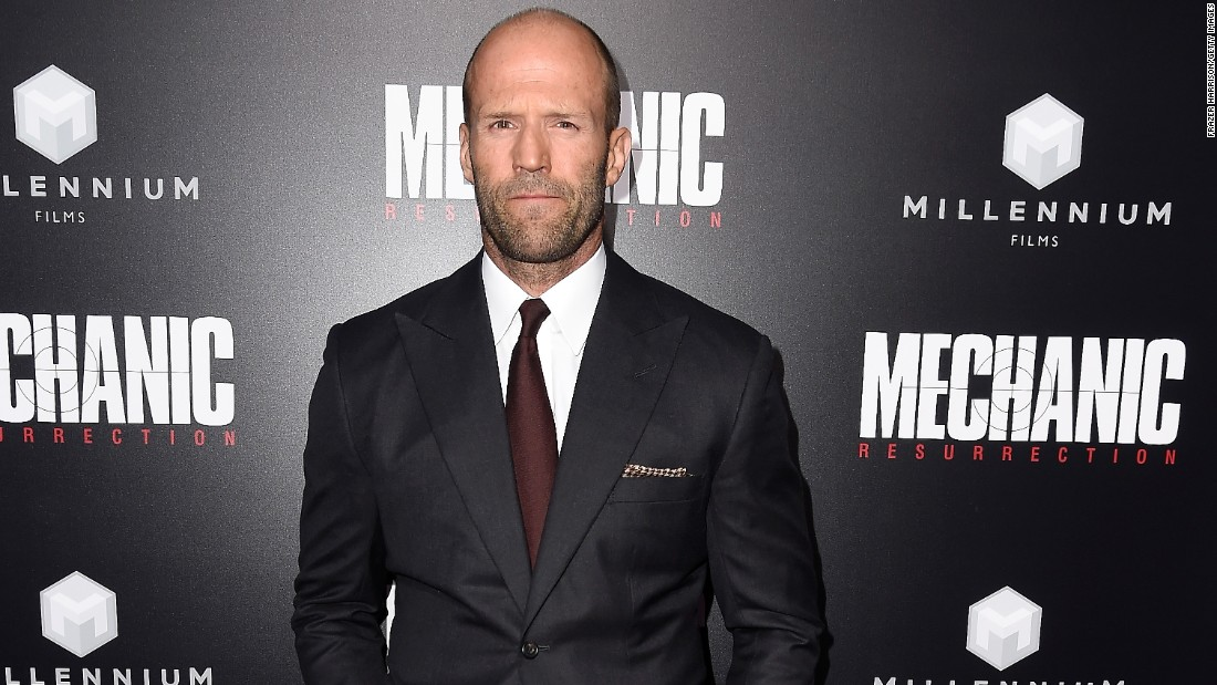 """The Expendables"" star Jason Statham celebrates on July 26."