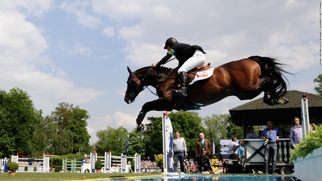Last year's champion Rolf-Goran Bengtsson takes on a water jump in the 2012 edition.