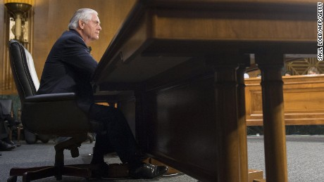 Former ExxonMobil executive Rex Tillerson testifies during his confirmation hearing for secretary of state before the Senate Foreign Relations Committee on Capitol Hill on January 11, 2017.