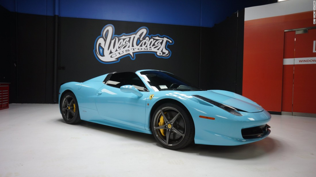 This light blue Ferrari 458 Spider belongs to Kylie Jenner.
