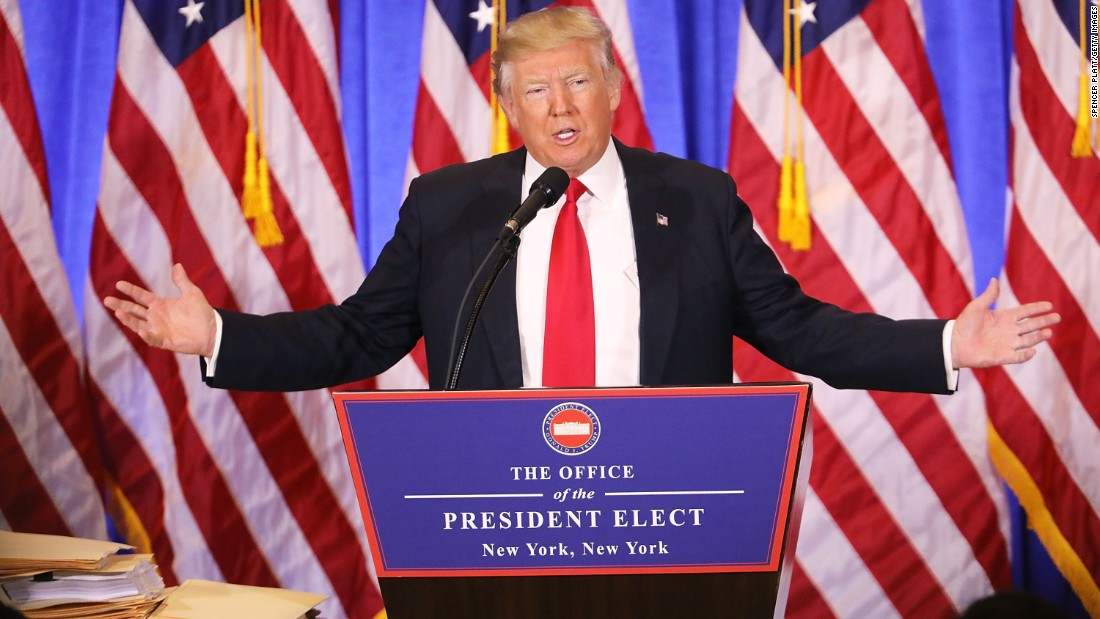 "President-elect Donald Trump speaks at Trump Tower in New York on Wednesday, January 11. In <a href=""http://www.cnn.com/2017/01/11/politics/donald-trump-press-conference-highlights/index.html"" target=""_blank"">his first news conference since winning the election,</a> a combative Trump made clear he will not mute his style when he is inaugurated on January 20. He lashed out at media and political foes alike."