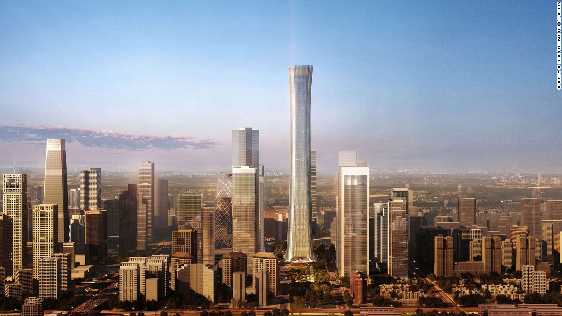 Kohn Pedersen Fox Associates designed Beijing's new flagship skyscraper in the form of a 'zun' -- an ancient Chinese ceremonial vessel. Climbing 528 meters, its concave shape expands office space on prime high floors. It recalls the slender hourglass figure of Canton Tower, currently China's second-tallest structure.Completion: 2018