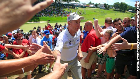 CROMWELL, CT - AUGUST 07:  Jim Furyk of the U.S. comes off the course after a shooting a record setting 58 during the final round of the Travelers Championship at TCP River Highlands on August 7, 2016 in Cromwell, Connecticut.  (Photo by Michael Cohen/Getty Images)