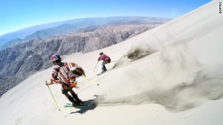 title: GoPro: Dunes - Sand Skiing in Peru duration: 00:05:26 site: Youtube author: null published: Wed Dec 07 2016 09:51:43 GMT-0500 (Eastern Standard Time) intervention: no description: Join Jesper Tjäder and Emma Dahlström as they go on an adventure through Peru and Ski on the slopes of one of the highest sand dunes in the world.  The dune of Cerro Blanco sits at roughly 2100m above sea level and requires hours of hiking in the sun to reach the top. Once at the top the dune can provide runs for over 1km, a truly unique experience in sand skiing.  Jesper and Emma take their freestyle skiing skills into a new environment and have their first ever attempt at hitting kickers and rails in the sand.  With Special Thanks from the local assistanc