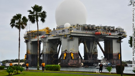 The Sea-based, X-band Radar (SBX 1) transits the waters of Joint Base Pearl Harbor-Hickam.