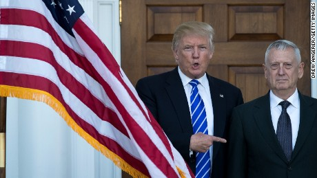 President-elect Donald Trump welcomes retired United States Marine Corps general James Mattis as they pose for a photo before their meeting at Trump International Golf Club, November 19, 2016 in Bedminster Township, New Jersey. Trump and his transition team are in the process of filling cabinet and other high level positions for the new administration.