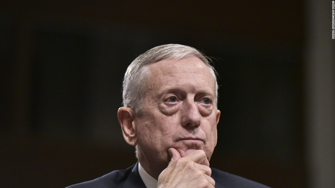"Retired Marine Gen. James Mattis, Trump's pick for defense secretary, <a href=""http://www.cnn.com/2017/01/12/politics/james-mattis-defense-confirmation/"" target=""_blank"">testifies before the Senate Armed Services Committee</a> on January 12."