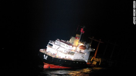 The North Korean ship began sinking on Wednesday.