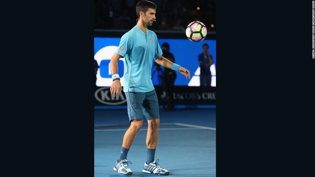 Djokovic keeps his eye on the ball -- something he's had plenty of practice at during his 12 grand slam victories.
