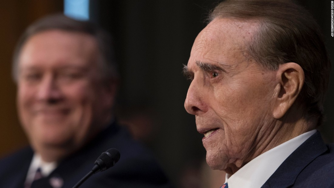 "Former US Sen. Bob Dole introduces US Rep. Mike Pompeo, left, at <a href=""http://www.cnn.com/2017/01/12/politics/mike-pompeo-cia-director-hearing-donald-trump/"" target=""_blank"">Pompeo's confirmation hearing</a> on January 12. Pompeo, who like Dole is from Kansas, is Trump's pick for CIA director."