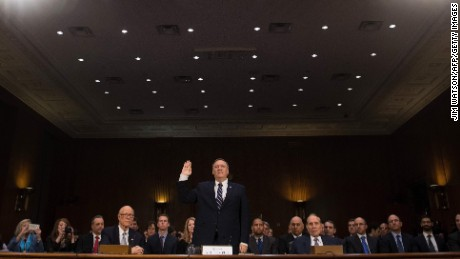 US Congressman Mike Pompeo, R-Kansas, is sworn in before testifying before the Senate (Select) Intelligence Committee on Capitol Hill in Washington, DC, January 12, 2017, on his nomination to be director of the Central Intelligence Agency (CIA) in the Trump administration. / AFP / JIM WATSON        (Photo credit should read JIM WATSON/AFP/Getty Images)