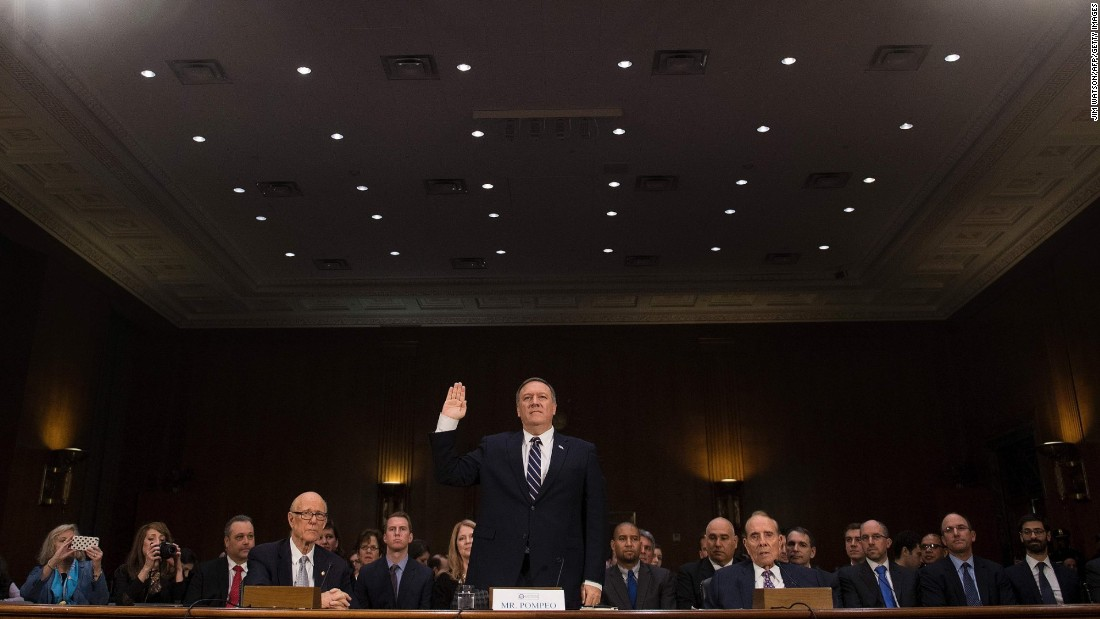 Pompeo is sworn in before the Senate Select Committee on Intelligence.
