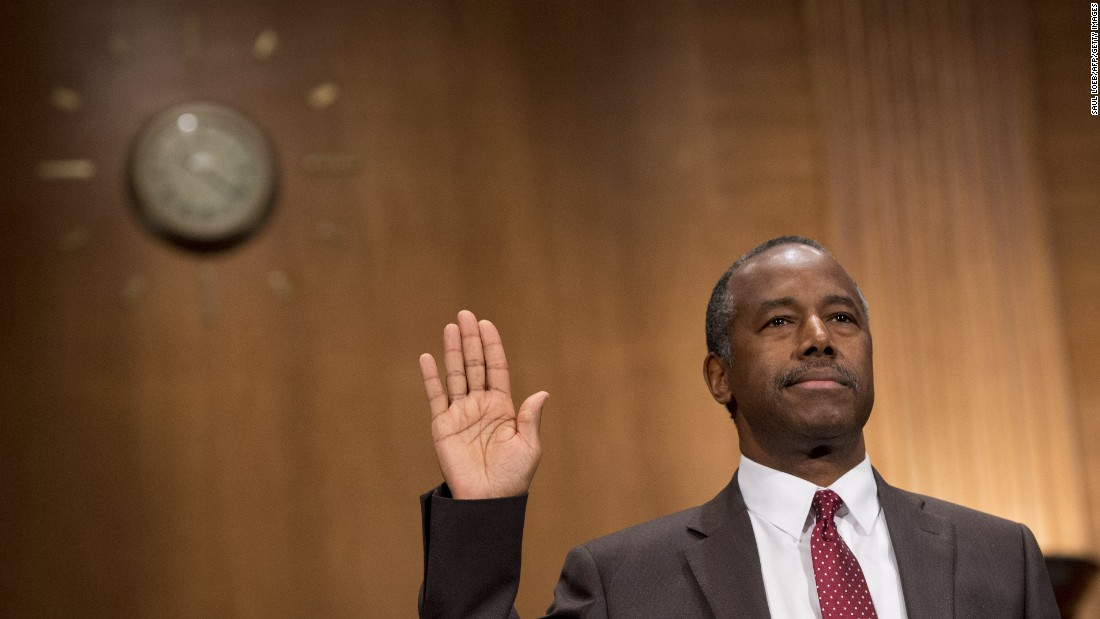 "Ben Carson is sworn in prior to <a href=""http://www.cnn.com/2017/01/12/politics/ben-carson-hud-confirmation-hearing/index.html"" target=""_blank"">his confirmation hearing in Washington</a> on Thursday, January 12. The renowned neurosurgeon and former presidential candidate was nominated by President-elect Donald Trump to lead the Department of Housing and Urban Development."