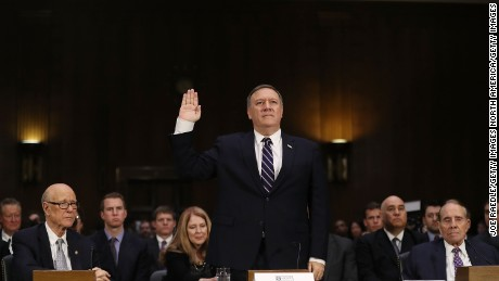 WASHINGTON, DC - JANUARY 12:  U.S. President-elect Donald Trump's nominee for the director of the CIA, Rep. Mike Pompeo (R-KS) is sworn in at his confirmation hearing before the Senate (Select) Intelligence Committee on January 12, 2017 in Washington, DC. Mr. Pompeo is a former Army officer who graduated first in his class from West Point.  (Photo by Joe Raedle/Getty Images)