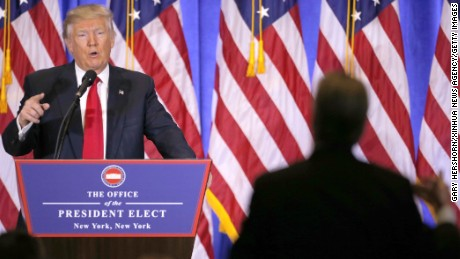 U.S. President-elect Donald Trump speaks during a news conference in New York, the United States, on Jan. 11, 2017. U.S. President-elect Donald Trump met the press Wednesday for the first news conference since the election. (Xinhua/Gary Hershorn via Getty Images)