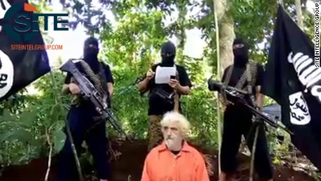 A screenshot of a video released by the SITE Intelligence Group last year showing Kantner in Abu Sayyaf's captivity.